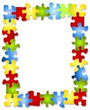 Colorful Puzzle Pieces Frame. An illustration featuring a decorative border of colourful puzzle pices Royalty Free Stock Image