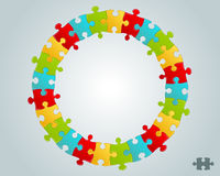 Colorful puzzle pieces round frame Stock Photos
