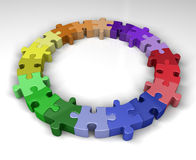 Colorful puzzle ring. Colorful jigsaw puzzle interconnected in ring. 3D rendered reflective on white background Royalty Free Stock Photo