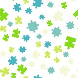 Colorful puzzle seamless background pattern. Vector illustration isolated on white background. Flat style royalty free illustration