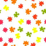 Colorful puzzle seamless background pattern. Vector illustration isolated on white background. Flat style vector illustration