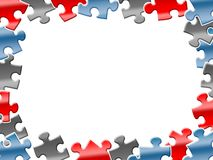 Colorful puzzles background on white Stock Photos