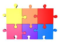 Colorful puzzles isolated on white Royalty Free Stock Photo