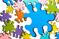 Colorful puzzles over white. Painted on wall Royalty Free Stock Images