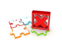 Colorful puzzles and red cross mark. Isolated on white background.3d rendered Stock Image
