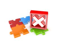 Colorful puzzles and red cross mark. Isolated on white background.3d rendered Stock Photo