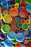 Colorful PVC plastic pipe cut and arranged randomly Stock Photography