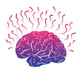 Colorful qradient brain mark with strikes and lines. Stock Image