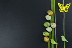 Colorful quail eggs and yellow butterfly and green wooden birds on stone table. Top view with copy space stock photos
