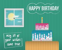 A colorful and quality Happy Birthday Ecard illustration royalty free illustration