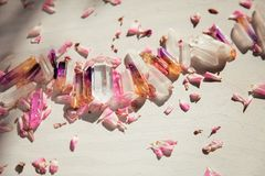 Colorful quartz crystals with pink rose leaves on wooden structure royalty free stock photography