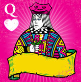 Colorful Queen of Hearts with banner illustration vector illustration