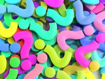 Colorful Question Mark signs. 3D rendering of colorful Question Mark signs royalty free illustration