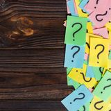 Colorful question marks background written reminders tickets. ask or business concept with copy space.  Royalty Free Stock Photography
