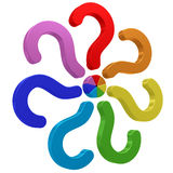 Colorful question marks conected Stock Image