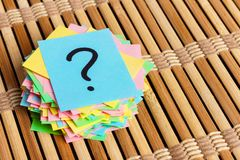 Colorful question marks written reminders tickets. ask or business concept.  Royalty Free Stock Photo