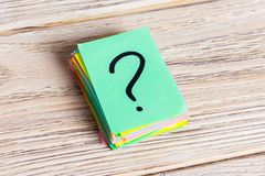 Colorful question marks written reminders tickets. ask or business concept.  Royalty Free Stock Photography