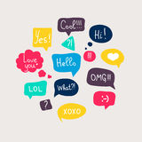 Colorful questions speech bubbles set in flat design Royalty Free Stock Images