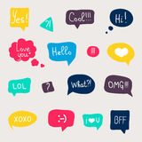 Colorful questions speech bubbles set in flat design with short Stock Photography