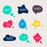 Colorful questions speech bubbles Stock Photo