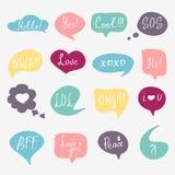 Colorful questions speech bubbles set Stock Image