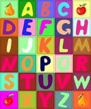 Colorful quilt alphabet. Patchwork letters. Stock Photo