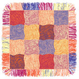 Colorful quilt weave plaid with fringe Stock Photo