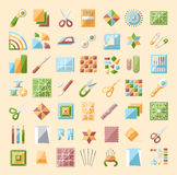 Colorful quilting line icons set. Patchwork supplies and accesso Stock Photo