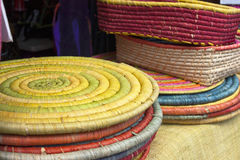 Colorful raffia basketry Royalty Free Stock Image