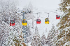 Colorful rail car. Snowy trees and colorful rail car Dolomites Italy Royalty Free Stock Photo