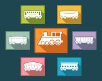 Colorful rail road icons set Stock Photography