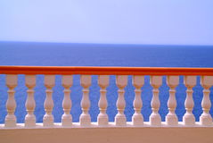 Colorful railing. On ocean walkway Royalty Free Stock Photography