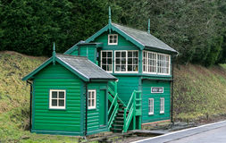Colorful railway signal box in rural setting Stock Images