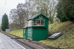 Colorful railway signal box in rural setting Royalty Free Stock Photography