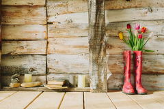 Colorful rain boots with spring flowers,candles , stones and boo. Ks in wooden background royalty free stock photography
