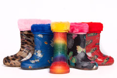 Colorful rain boots Stock Images