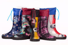Colorful rain boots Royalty Free Stock Photos