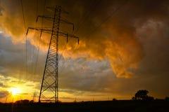 Colorful rain storm next energy line Royalty Free Stock Image