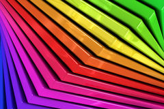 Colorful rainbow abstract background of stacked glass planes. Close up of a coloful rainbow abstract background of a spiral stack of glass planes Stock Photos