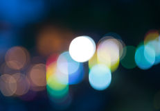 Colorful rainbow bokeh blur at night Royalty Free Stock Images