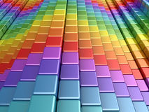 Colorful rainbow boxes. 3d render of rainbow shapes Stock Photos