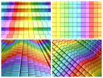 Colorful rainbow boxes. 3d render of rainbow shapes Royalty Free Stock Photo