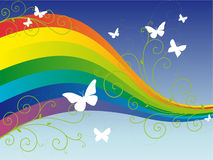Colorful rainbow with butterflies Royalty Free Stock Photo