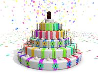 Colorful rainbow cake with on top a chocolate number 8 Stock Photos