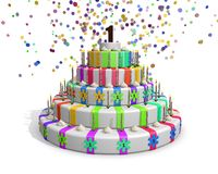 Colorful rainbow cake with on top a chocolate number 1 Royalty Free Stock Image