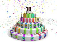 Colorful rainbow cake with on top a chocolate number 10 Royalty Free Stock Image