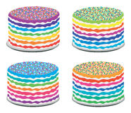Colorful rainbow cakes, vector  Stock Image