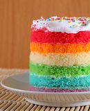 Colorful rainbow cakes on white plate. Royalty Free Stock Photos