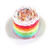 Colorful rainbow cakes on white plate. Royalty Free Stock Image