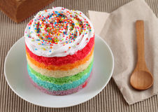 Colorful rainbow cakes on white plate Royalty Free Stock Images